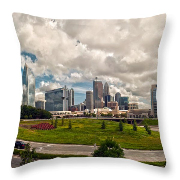 Skyline of Charlotte Towers Throw Pillow by Alexandr Grichenko