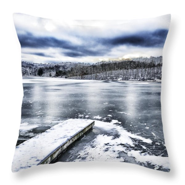 Snow Big Ditch Lake Throw Pillow by Thomas R Fletcher
