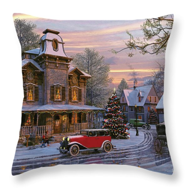 Snow Streets Throw Pillow by Dominic Davison