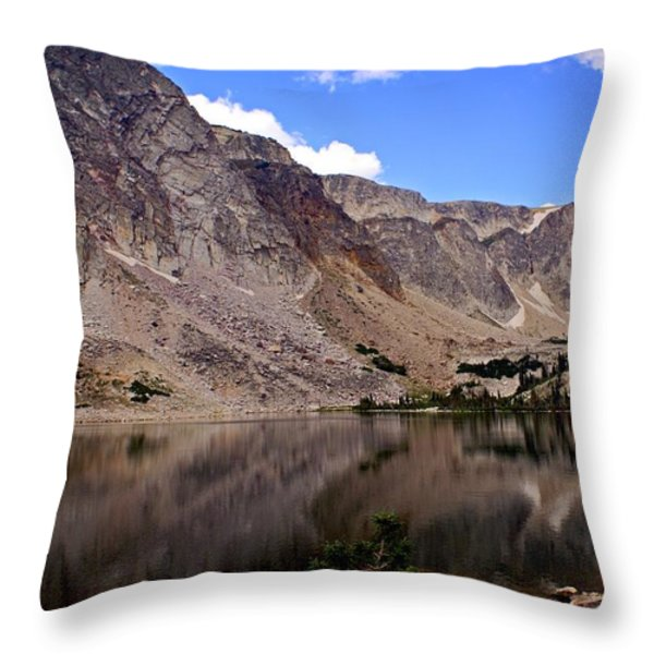 Snowy Mountain Loop 1 Throw Pillow by Marty Koch