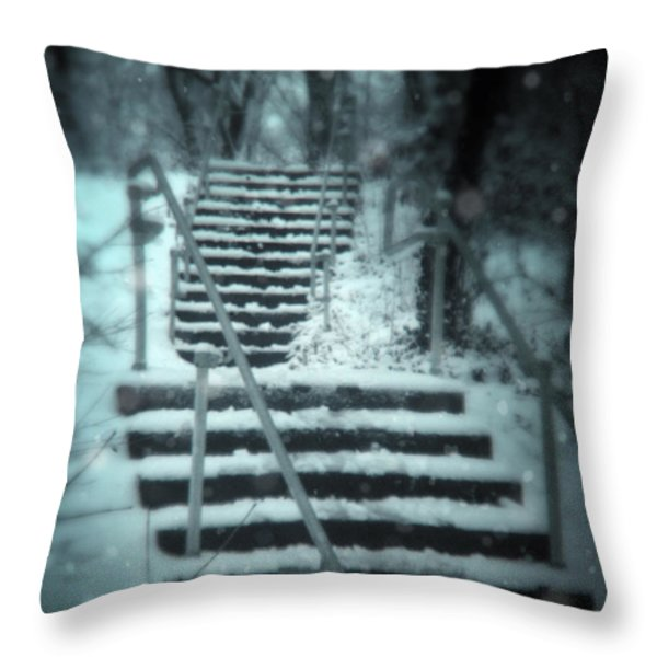 Snowy Stairway Throw Pillow by Jill Battaglia