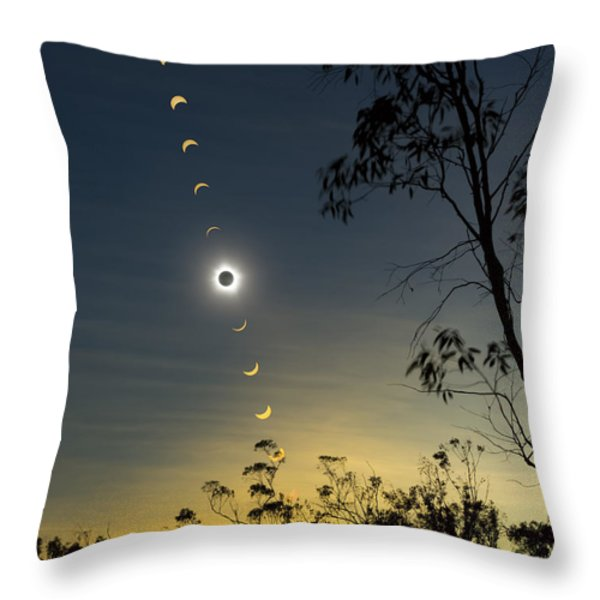 Solar Eclipse Composite, Queensland Throw Pillow by Philip Hart