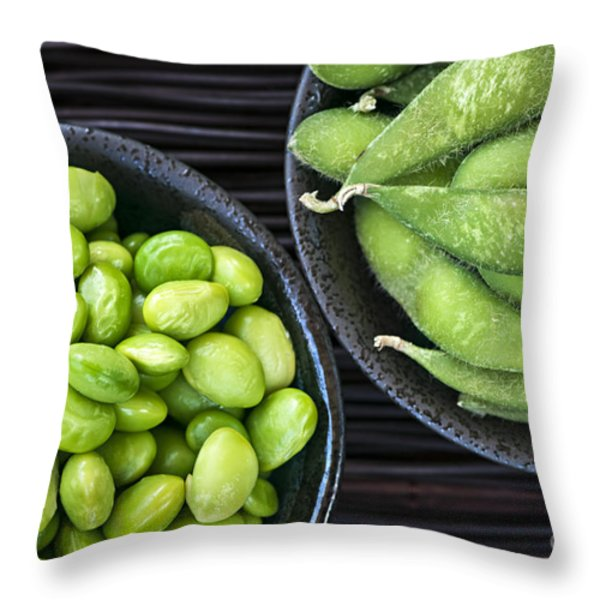 Soy Beans In Bowls Throw Pillow by Elena Elisseeva
