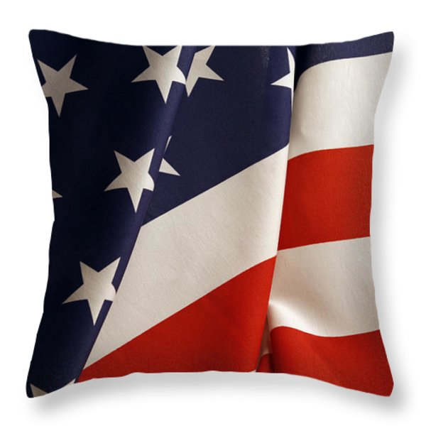 Stars and stripes Throw Pillow by Les Cunliffe