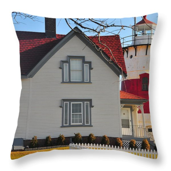 Startford Point Light Throw Pillow by Catherine Reusch  Daley