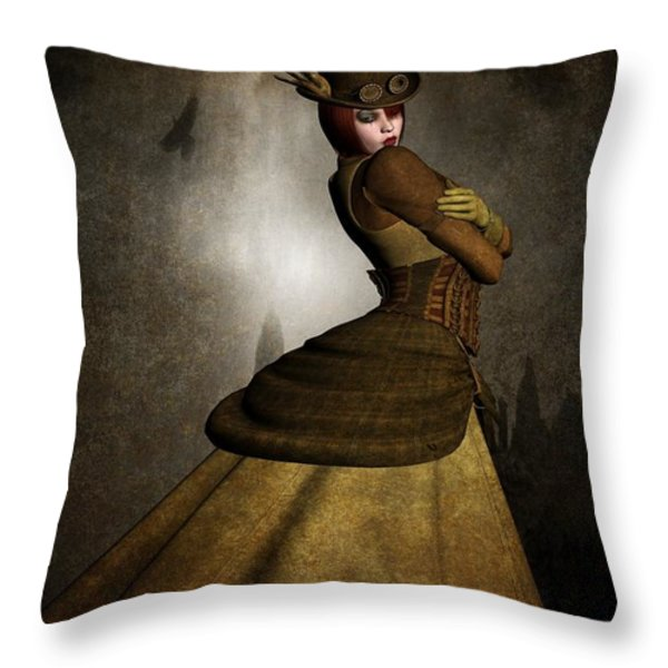 Steam Punk Woman Throw Pillow by Todd and candice Dailey