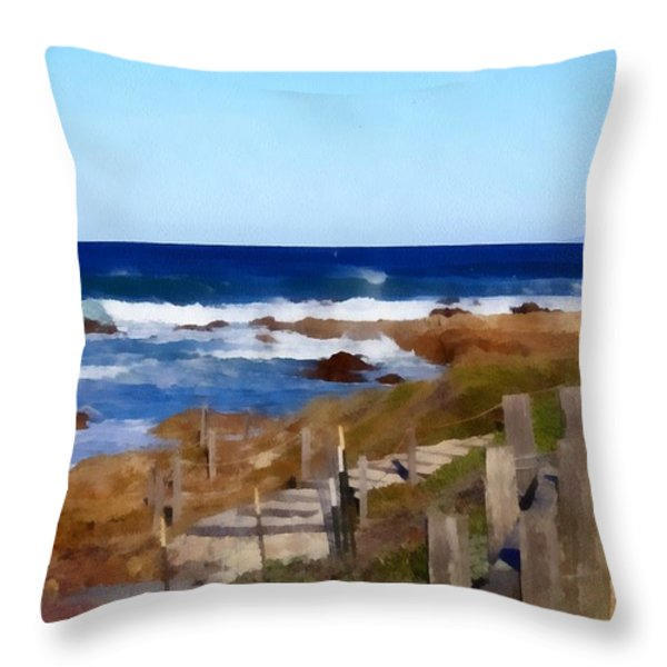 Steps To The Sea Throw Pillow by Barbara Snyder