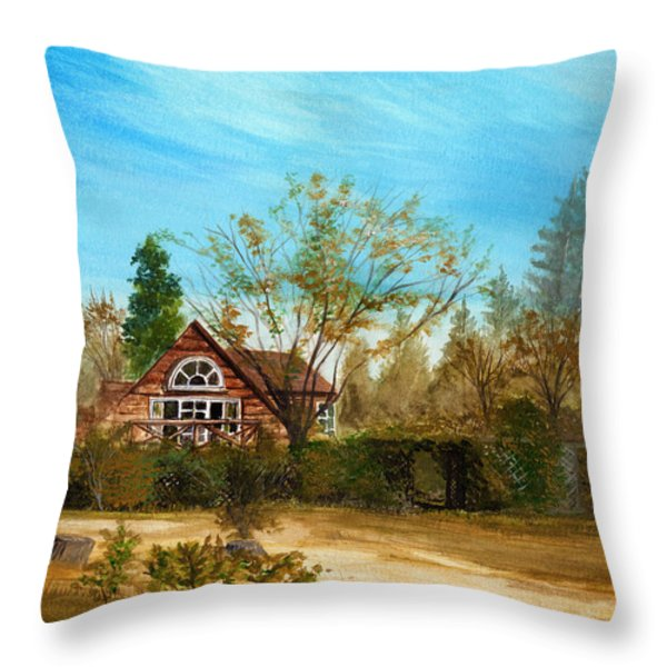 Strawberry Lodge Throw Pillow by Dale Jackson