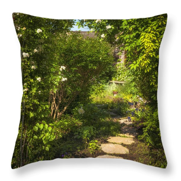 Summer garden and path Throw Pillow by Elena Elisseeva
