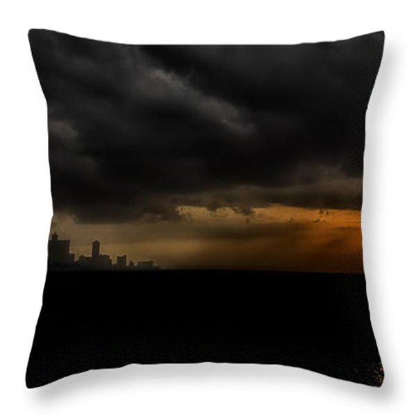 Sunset in Havana Throw Pillow by Erik Brede