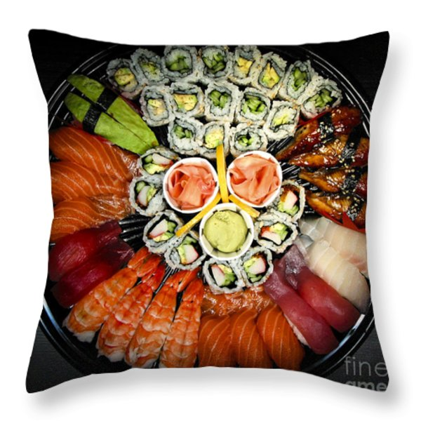 Sushi party tray Throw Pillow by Elena Elisseeva