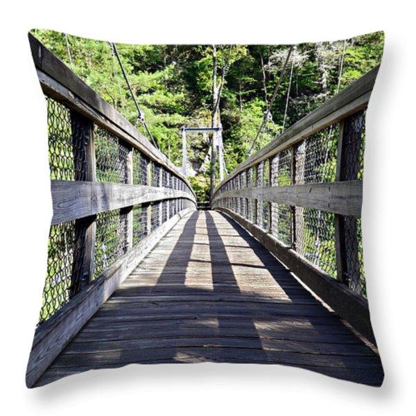Suspension Bridge Throw Pillow by Susan Leggett