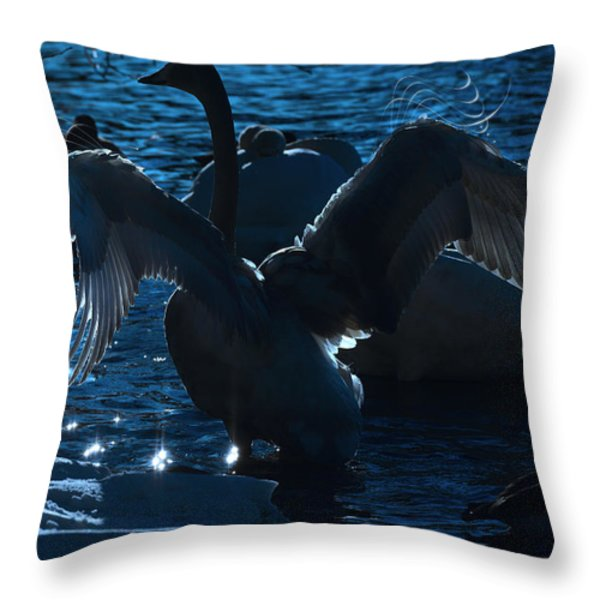 Swan Spreads Its Wings Throw Pillow by Toppart Sweden