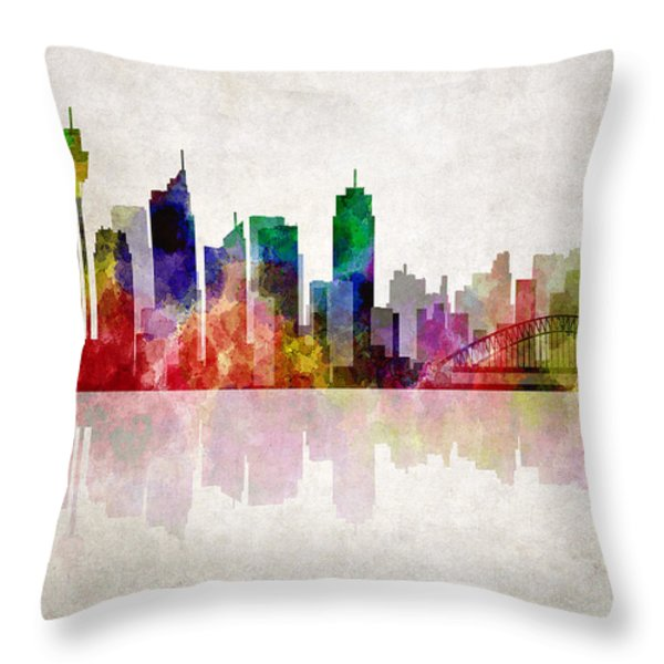 Sydney Australia Skyline Throw Pillow by Daniel Hagerman