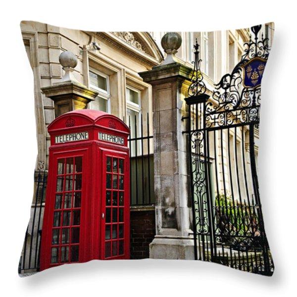 Telephone Box In London Throw Pillow by Elena Elisseeva