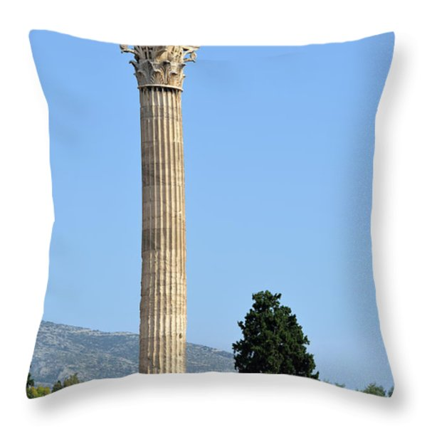 Temple of Olympian Zeus in Athens Throw Pillow by George Atsametakis