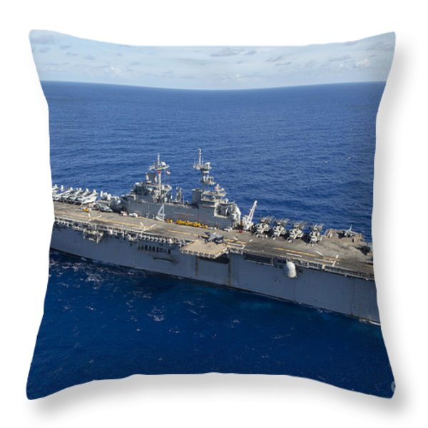 The Amphibious Assault Ship Uss Boxer Throw Pillow by Stocktrek Images