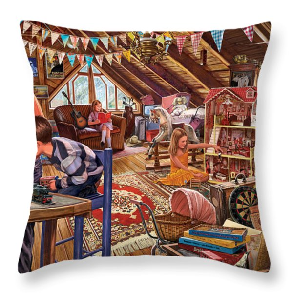 The Attic Throw Pillow by Steve Crisp