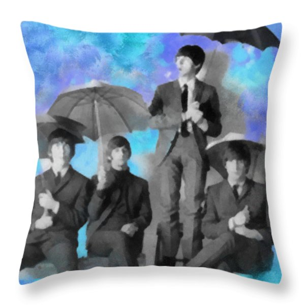 The Beatles Throw Pillow by Paulette B Wright