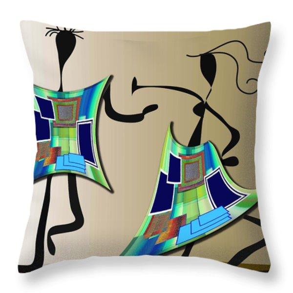 The Dancers Throw Pillow by Iris Gelbart