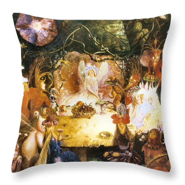 The Fairies Banquet Throw Pillow by John Anster Fitzgerald