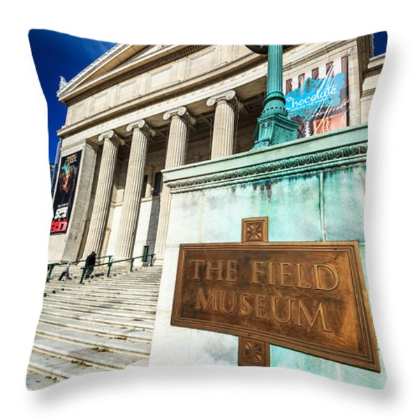 The Field Museum Sign in Chicago Throw Pillow by Paul Velgos