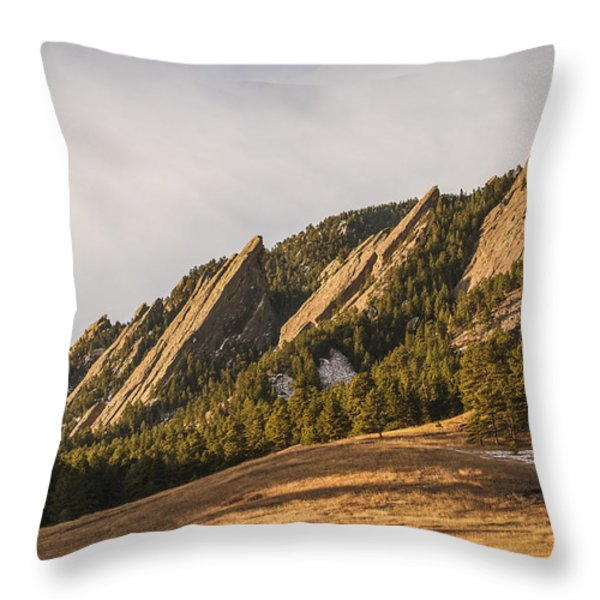 The Flatirons 2 Throw Pillow by Aaron Spong