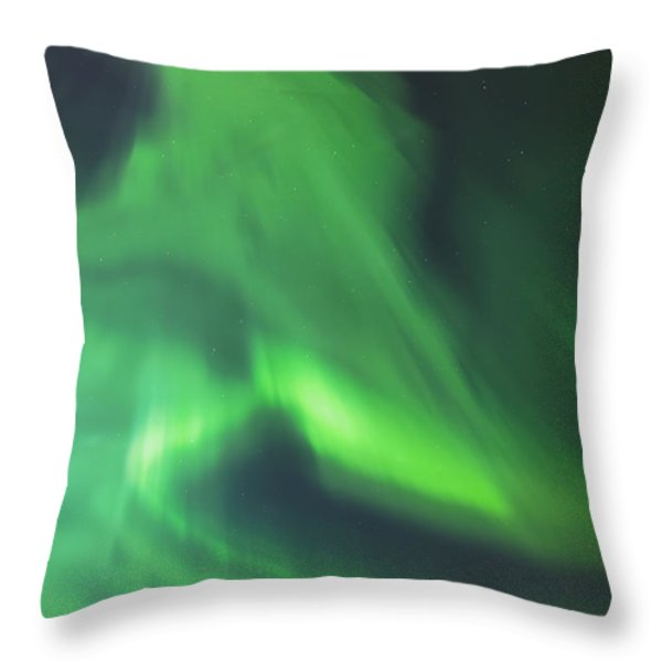 The Green Northern Lights Corona Throw Pillow by Kevin Smith
