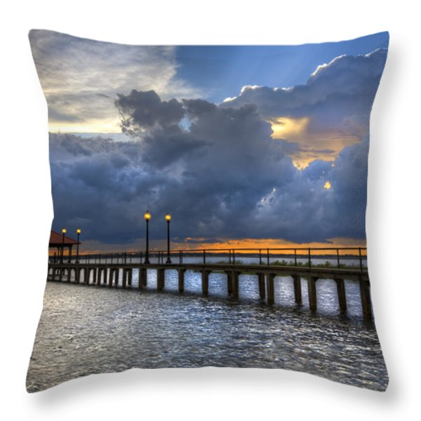 The Pier Throw Pillow by Debra and Dave Vanderlaan