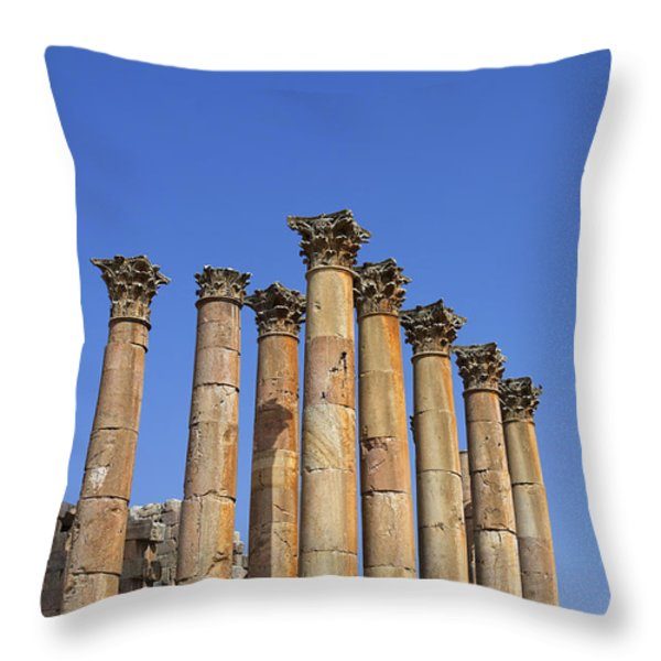 The Temple Of Artemis At Jerash Jordan Throw Pillow by Robert Preston
