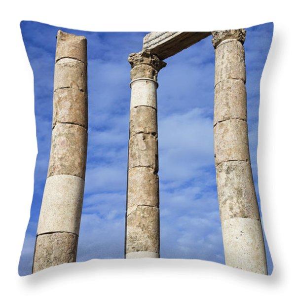 The Temple Of Hercules In The Citadel Amman Jordan Throw Pillow by Robert Preston