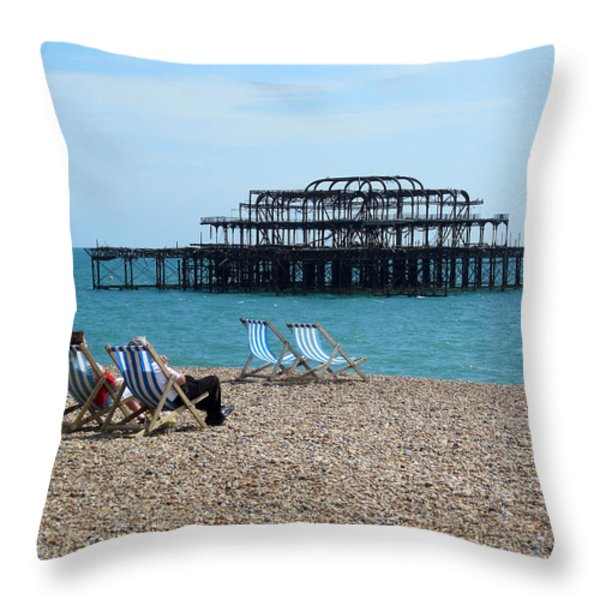 The West Pier Brighton Throw Pillow by Mike Lester