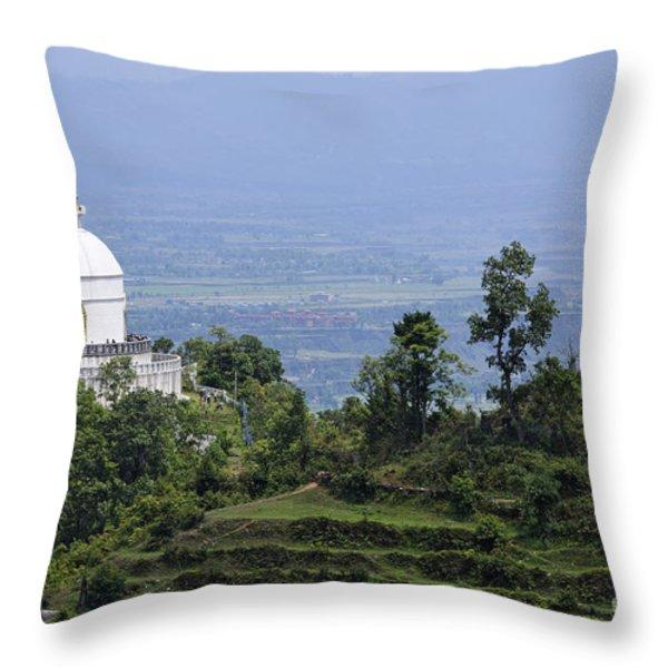 The World Peace Pagoda Pokhara Throw Pillow by Robert Preston