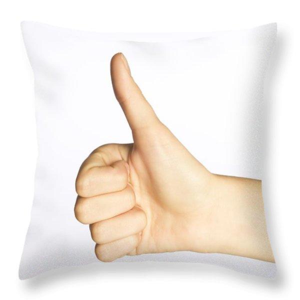 Thumbs Up Throw Pillow by Alan Marsh