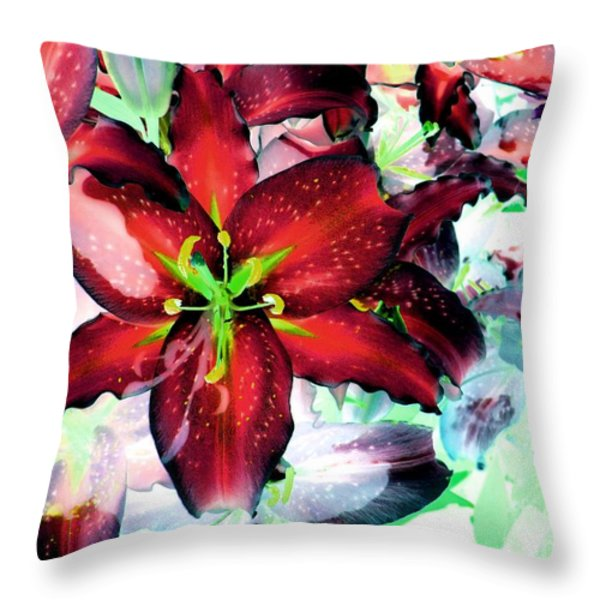 Tiger Lilies Throw Pillow by Annie Zeno