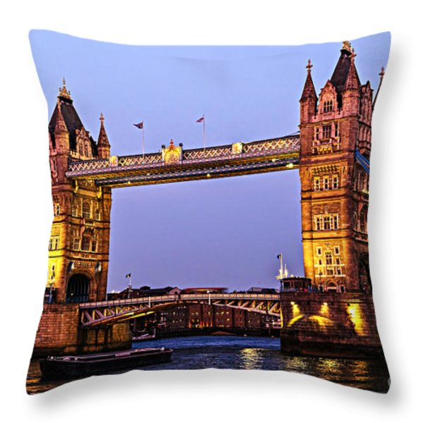 Tower bridge in London at dusk Throw Pillow by Elena Elisseeva