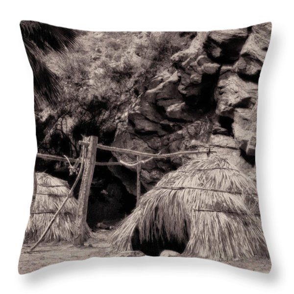 Traditional Cahuilla Indian Huts Throw Pillow by Sandra Selle Rodriguez