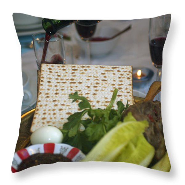 Traditional sedder table Throw Pillow by Ilan Rosen
