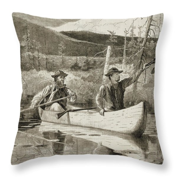 Trapping in the Adirondacks Throw Pillow by Winslow Homer