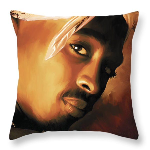 Tupac Shakur Throw Pillow by Sheraz A