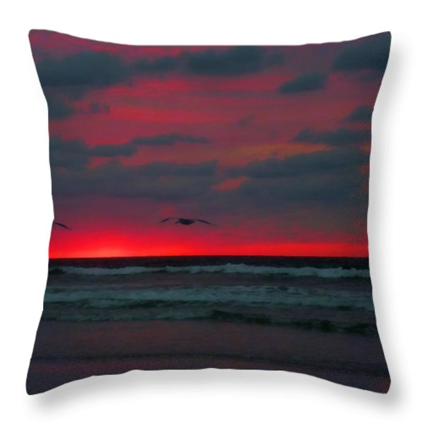 Two Ship Throw Pillow by JC Findley