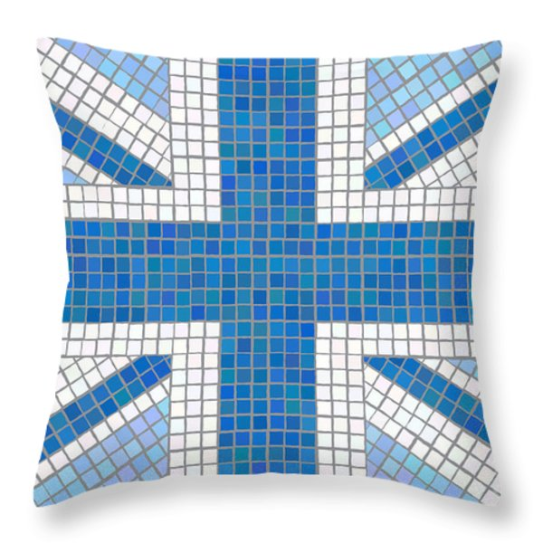 Union Jack blue Throw Pillow by Jane Rix