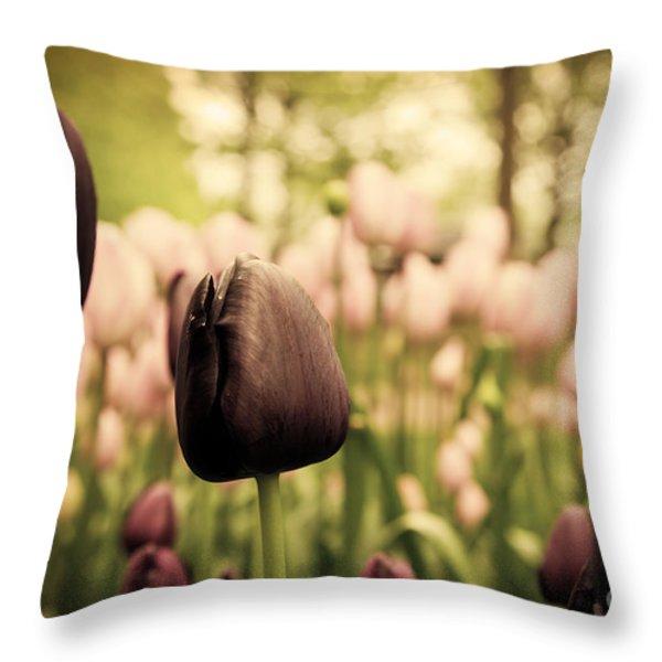 Unique Black Tulip Flowers In Green Grass Throw Pillow by Michal Bednarek