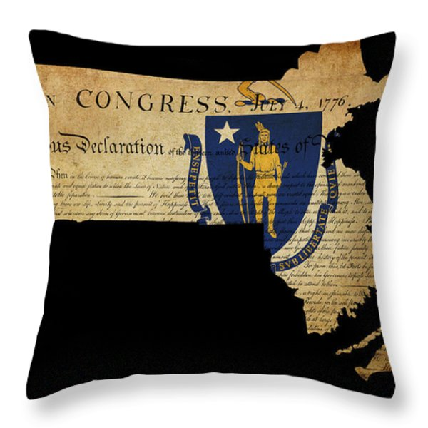 USA American Massachussetts State Map outline with grunge effect Throw Pillow by Matthew Gibson