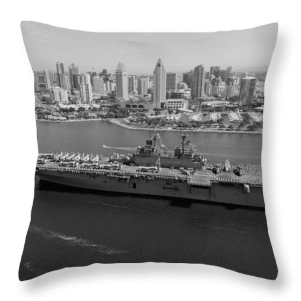 USS Boxer in San Diego  Throw Pillow by Mountain Dreams