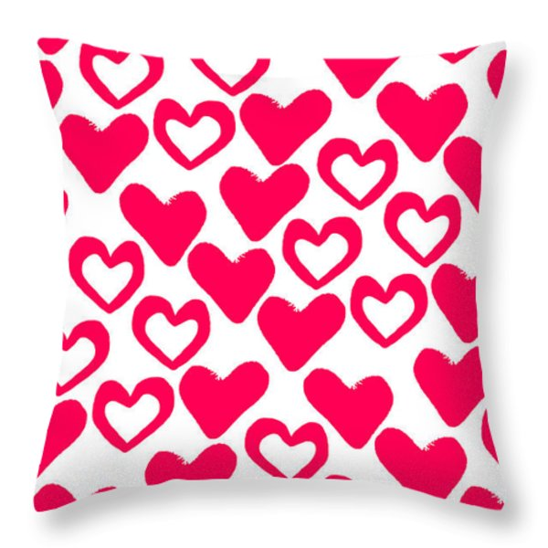 Valentines Day Card Throw Pillow by Louisa Knight