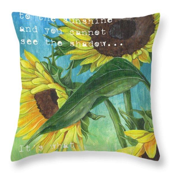Vince's Sunflowers 1 Throw Pillow by Debbie DeWitt