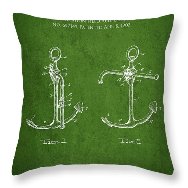 Vintage Anchor Patent Drawing from 1902 Throw Pillow by Aged Pixel