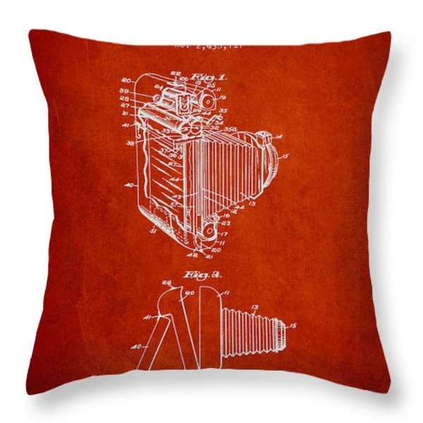 Vintage film camera patent from 1948 Throw Pillow by Aged Pixel