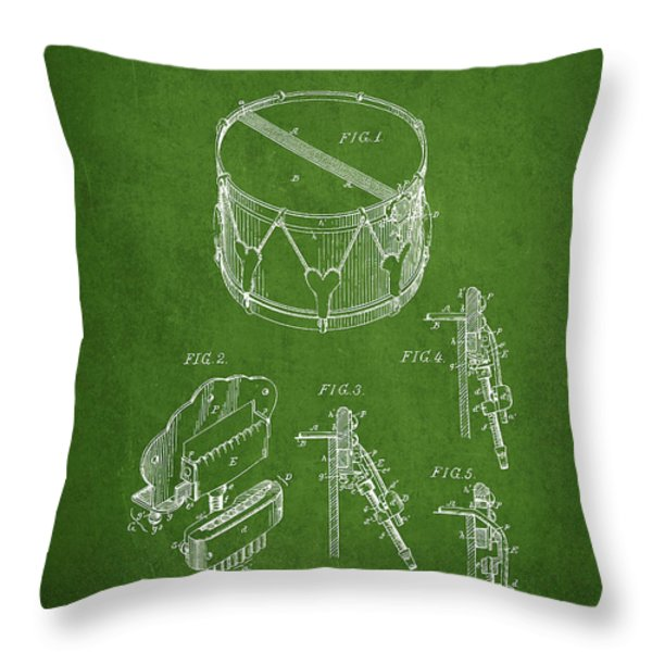 Vintage Snare Drum Patent Drawing from 1889 - Green Throw Pillow by Aged Pixel